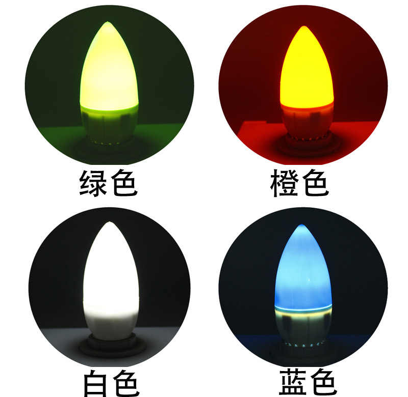 JSEX LED bulb  E14 Color Bubble red  yellow green white candle lamp @3