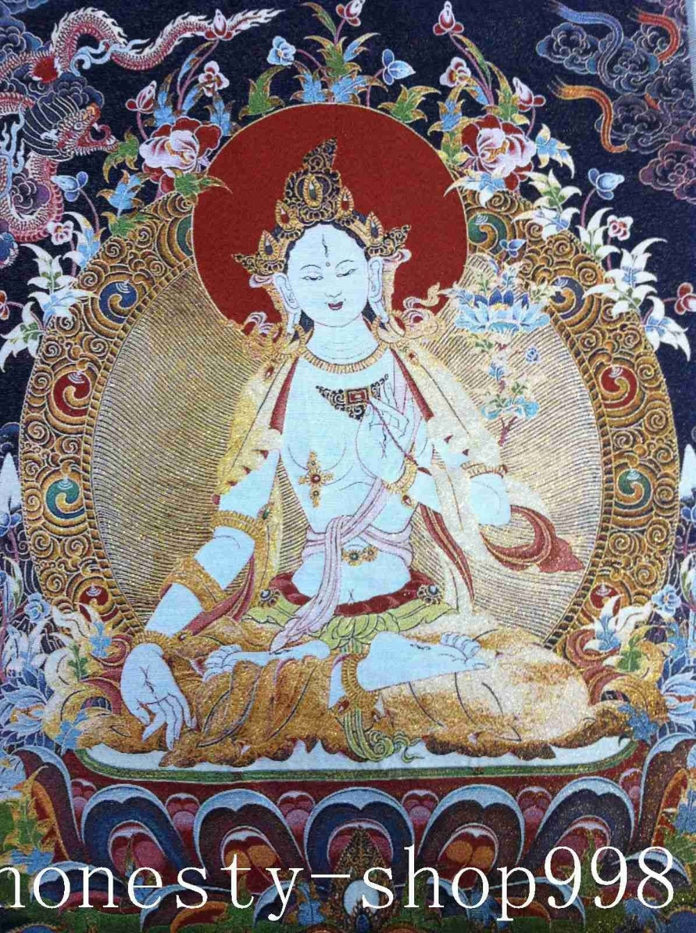 "36/"" Tibet Tibetan Cloth Silk Buddhism Green Tara Tangka Thangka Painting Mural"
