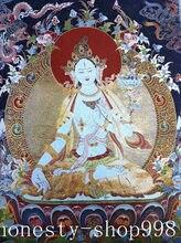 Seda Bordado Arte Budismo do tibete Tangka tara verde estátua de buda Thangka