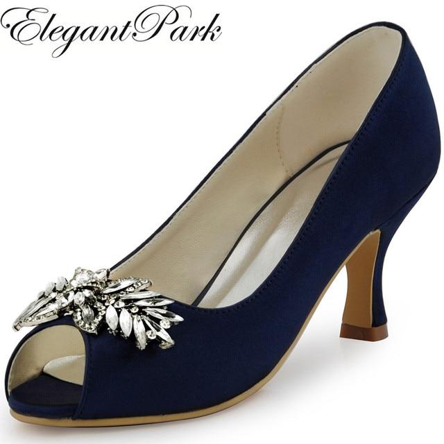Woman Shoes Wedding Bridal Mid Heel Navy Blue P Toe Rhinestone Satin Lady Bridesmaid Bride Prom