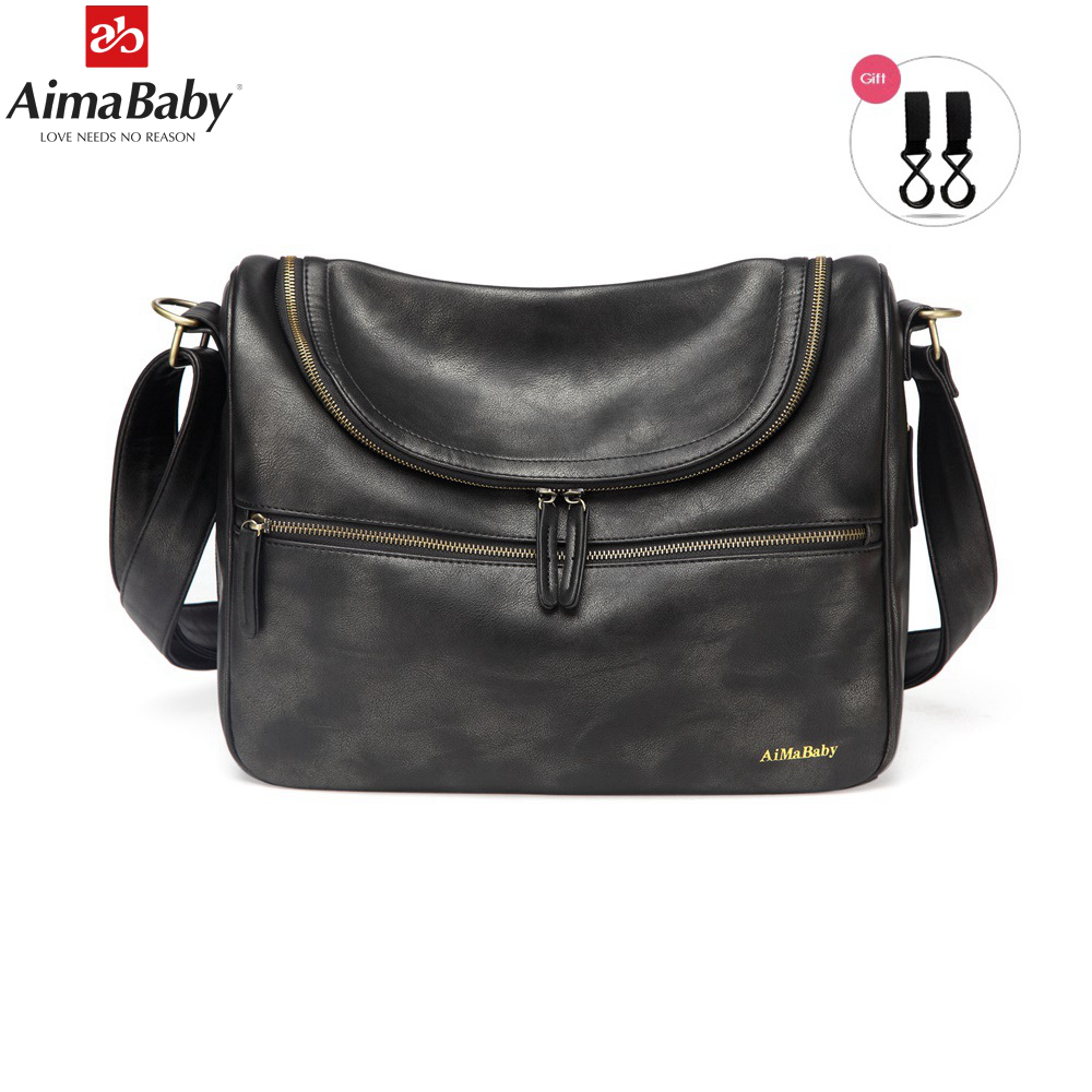 AIMABABY PU Leather Baby Travel Mom Mummy Daddy Maternity Nappy Diaper Bag Messenger Bags Organizer Hobos