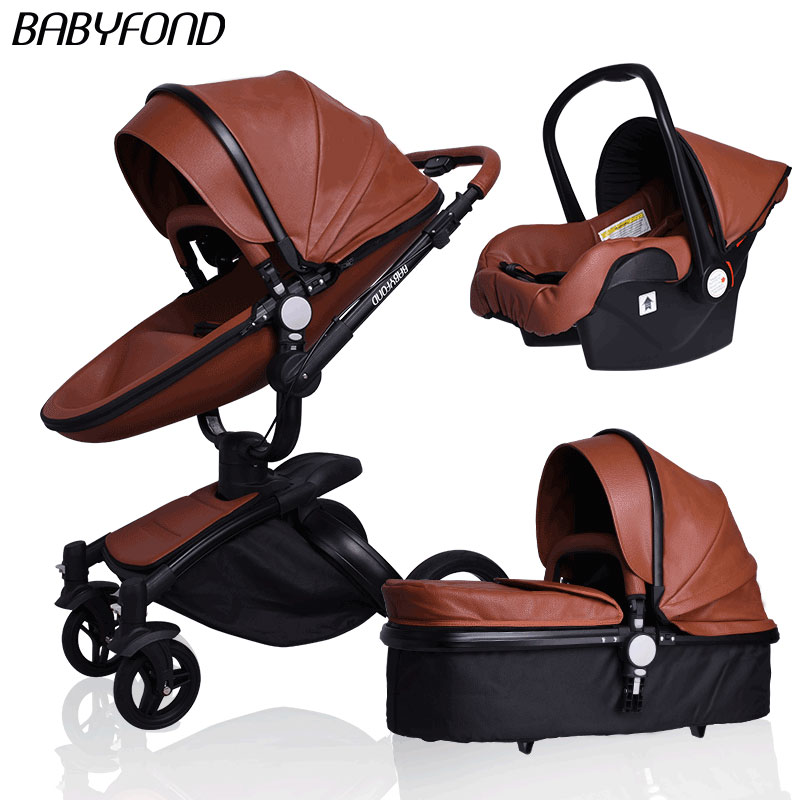 Brand babyfond car leather aluminium alloy frame light 3 in 1 baby carriage pram newborn light folding baby stroller babyfond high quality leather baby car baby stroller 3 in 1 baby carriage 2 in 1 baby stroller aluminum alloy frame