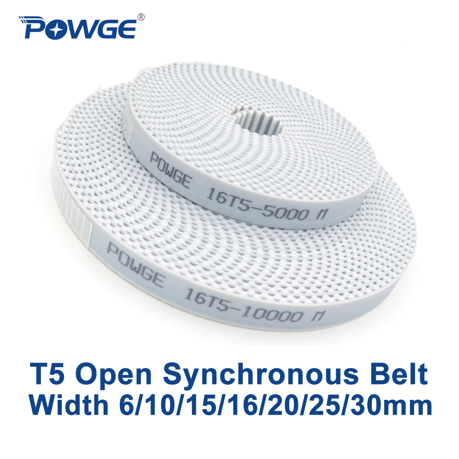POWGE Trapezoid T5 Open synchronous belt width 6/10/15/16/20/25/30mm Polyurethane steel PU T5 open Timing Belts 3D printerPOWGE Trapezoid T5 Open synchronous belt width 6/10/15/16/20/25/30mm Polyurethane steel PU T5 open Timing Belts 3D printer