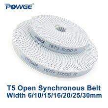 POWGE трапециевидная T5 открытые синхронный пояс 6/10/15/16/20/25/30 мм полиуретан стальные PU T5 открытых зубчатых Ремни 3D принтер