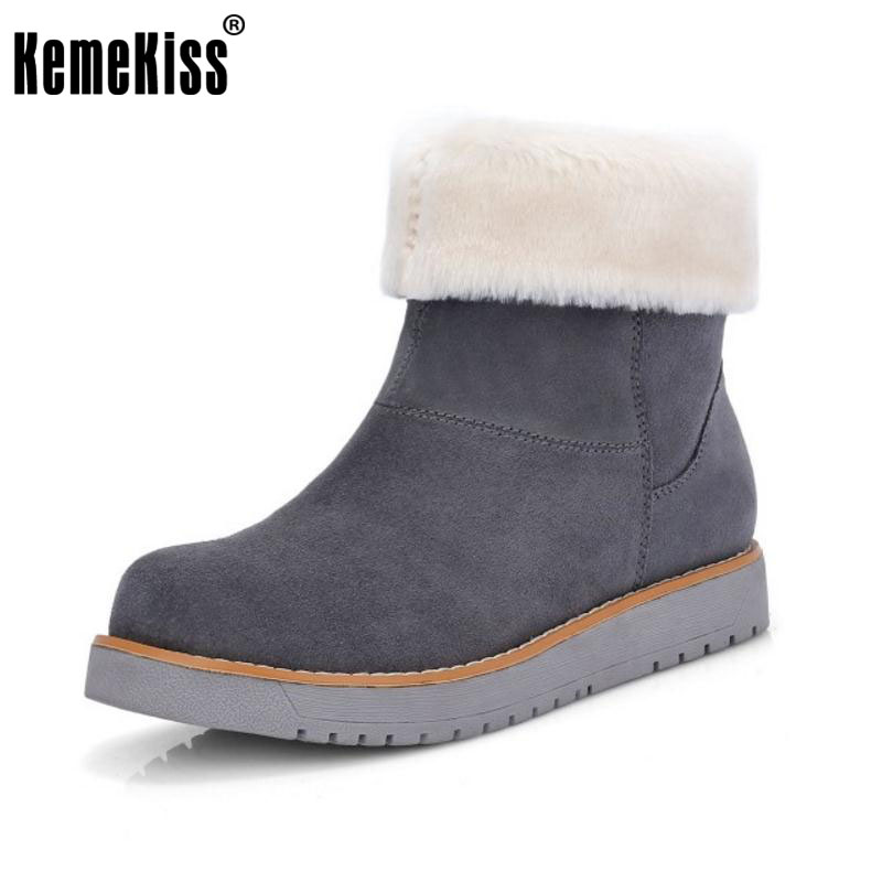 KemeKiss Women Genuine Leather Half Short Snow Boots Thick Fur Shoes In Winter Botas Flats Short Boots Women Footwear Size 34-39