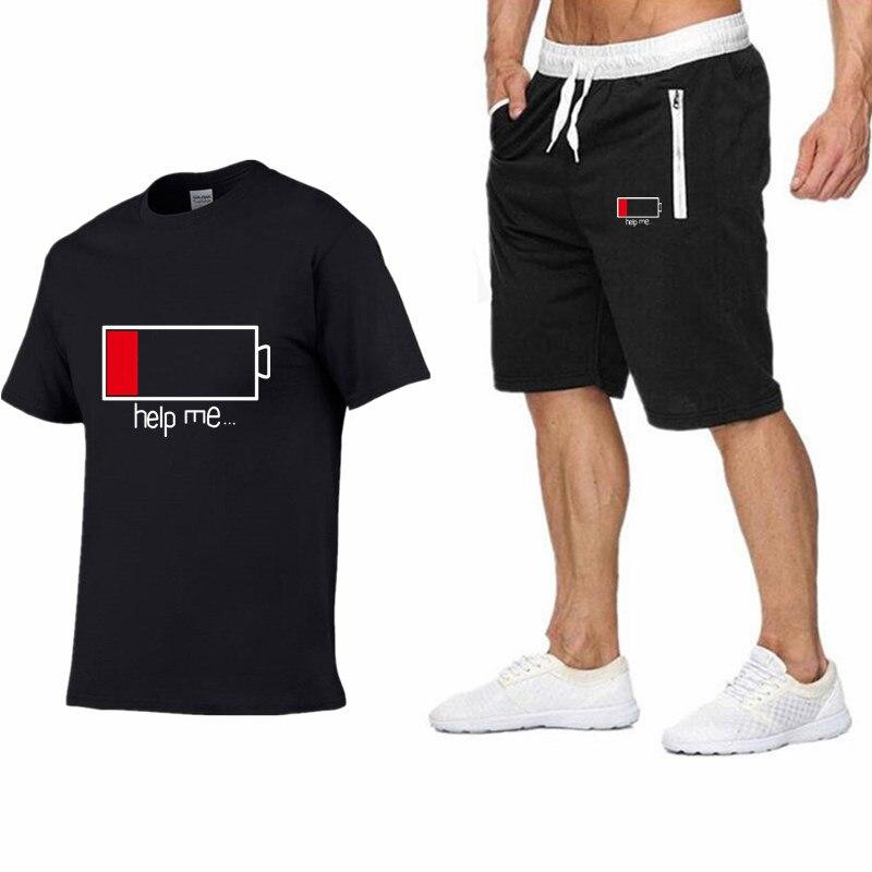 الصيف الساخن بيع الرجال مجموعات القمصان + السراويل قطعتين مجموعات عارضة رياضية الذكور 2019 عارضة شيرت صالات رياضية اللياقة البدنية السراويل الرجال-في مجموعات للرجال من ملابس الرجال على  مجموعة 1
