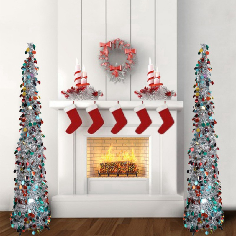 Collapsible Artificial Christmas Trees: 1.5M Artificial Glittering Christmas Tree Tinsel