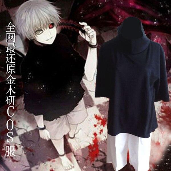 Adult Costumes Anime Tokyo Ghoul Cosplay Kaneki Ken Terror 2pcs Black T-shirt/Pant S-XXL Halloween Cosplay Costumes Props