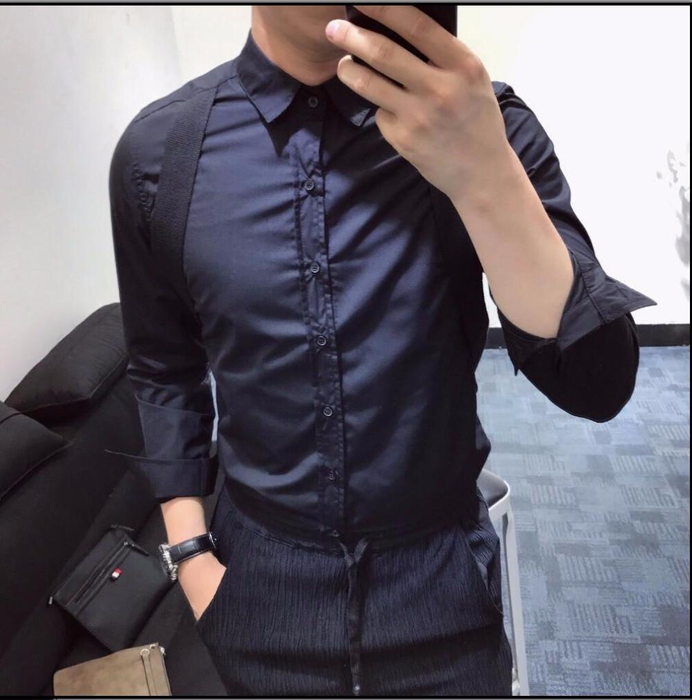 Homme Pour Patchwork Hommes T De Mode blanc Chemise Costumes Marée Coiffeur Chanteur Nouveaux shirt Blanc 2019 Bretelles Noir Vêtements Et Noir C7qfO0Bnxw