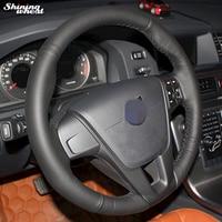 Shining Wheat Black Leather Car Steering Wheel Cover For Volvo S60 V40 V60 V70 2014 XC60