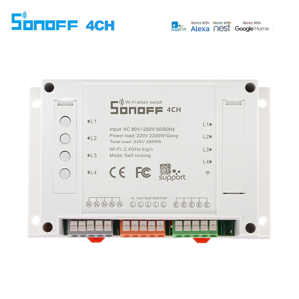 Sonoff 4CH WiFI Switch Smart Home Automation Module on/off Wireless Timer DIY Switch 10A/2200W Works with Alexa Google Home
