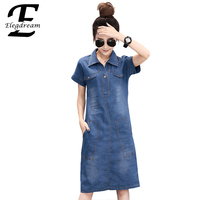 Eledream Fashion Women Denim Dress Ladies Casual Jean Dresses Short Turn Down Collar Blue Dress Vestidos