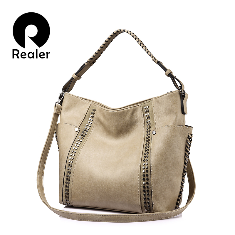 REALER women shoulder crossbody bags female casual totes ladies handbags large capacity fashion Rivet Messenger top-handle bags 2018 new fashion top handle bags women cowhide genuine leather handbags casual bucket bags women bags rivet shoulder bags 836