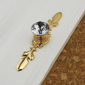 Image 3 - Glass Dresser Knob Crystal Drawer Knobs Handle Gold Clear Rhinestone Cabinet Door Handle Back Plate furniture hardware