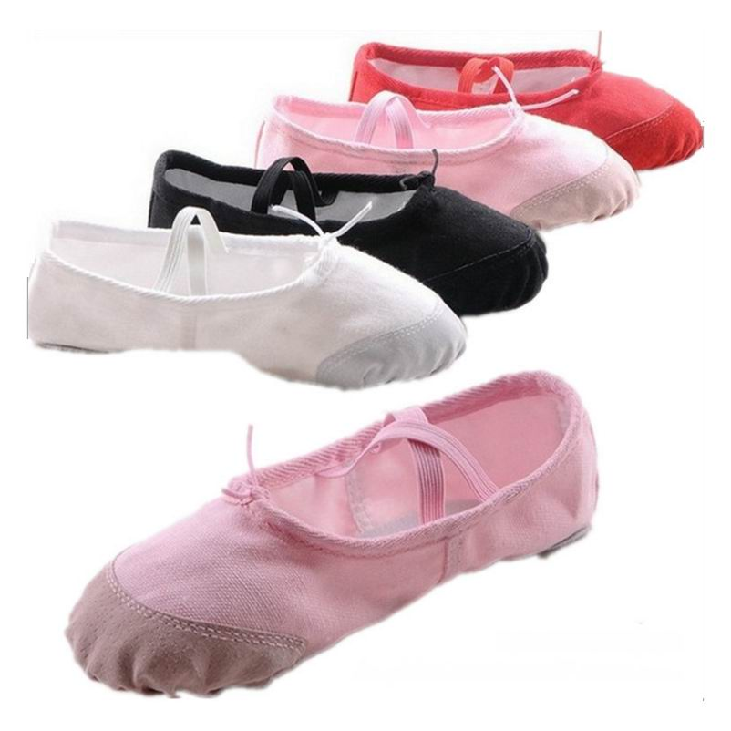 4 Colors Children Girl Women Soft Split Sole Breathable Tip Comfortable Canvas Flat Ballet Shoes Size 22-41 K686 women breathable leisure cloth shoes durable lightweight comfortable soft walking mixed color flat heel shoe rubber sole canvas