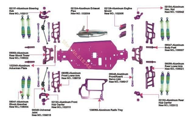 RC Car HSP 110 Scale Models Tyrannosaurus Parts List
