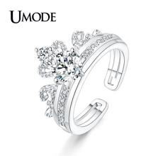 UMODE 2018 New Fashion Crown Rings for Women Clear Zircons Detachable Double Ring White Gold Color Anillo Mujer Moda AUR0443B