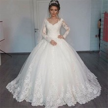 V-Neck Long Sleeves Lace Ball Gown Wedding Dress Appliques with Court Train Bridal Gowns Zip Back Vestido De Noiva