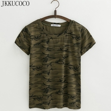 JKKUCOCO Camouflage T-shirt Women Tops tee Shirt Short Sleeve O-neck Casual t shirt Women Good Cotton t-shirts 3 Color XS-XL