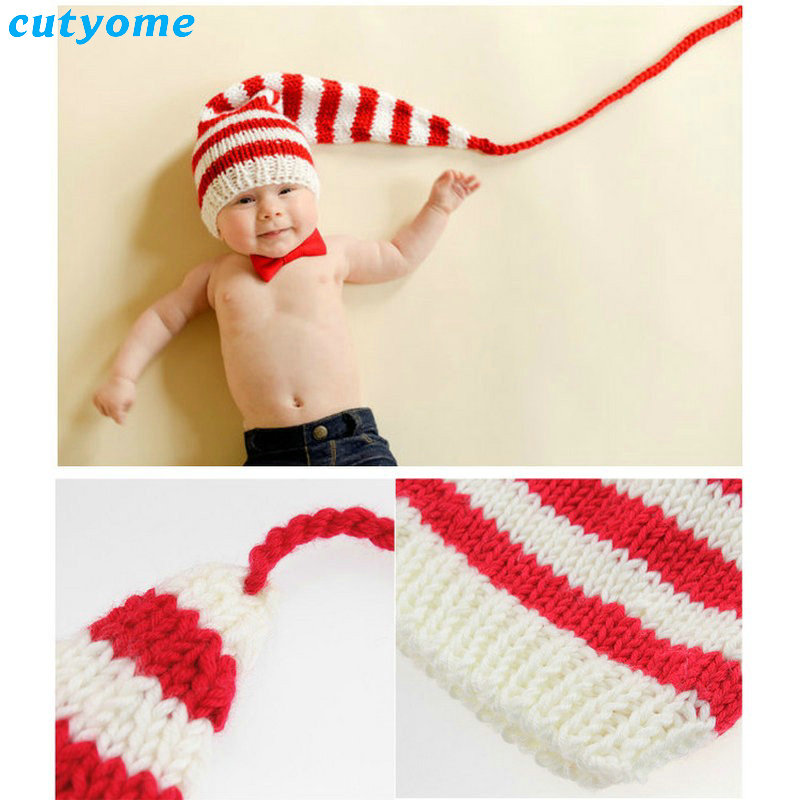 Cutyome 2018 Cute Xmas Stripe Photo Costume Baby Cotton Long Tail Beanies For Boy/girl Knit Crochet Newborn Photography Props