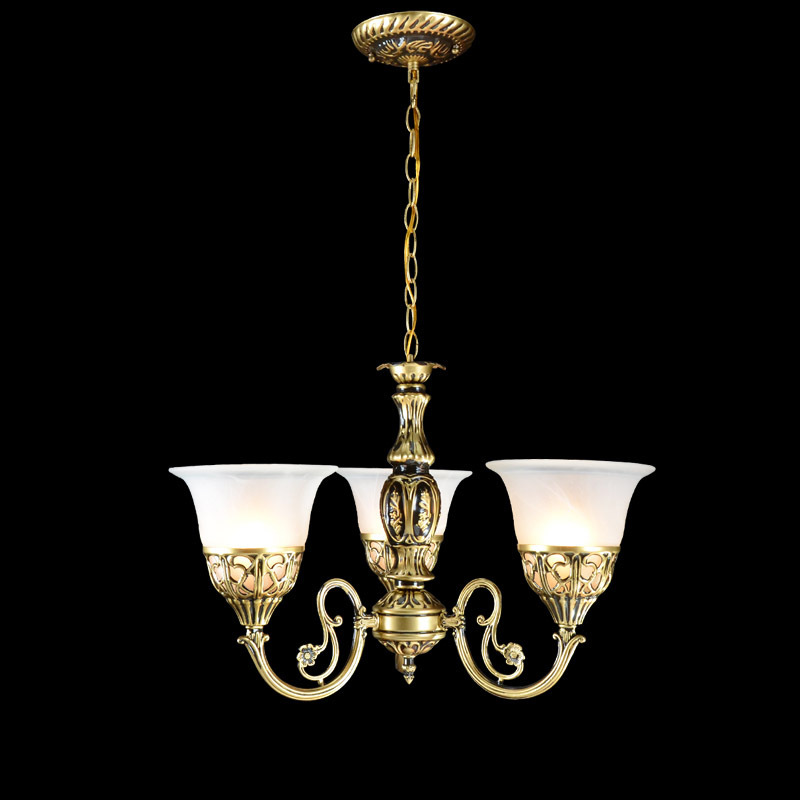 Multiple Chandelier Iron Alloy Antique Bronze Color Hanging Lamps Continental Chandeliers Living Room Lights 3 ZX65