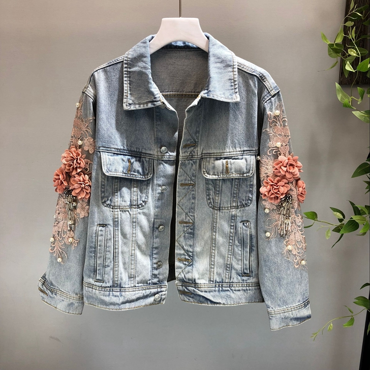 2018 Autumn Women Embroidery Three Dimensional Flowers Pearl Bead Short Denim Coat Woman Long Sleeve Jean Jacket Feminina Coats