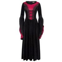 Women Medieval Renaissance Victorian Dress Retro Vintage Gothic Long Bell Sleeve Costumes Ball Gown Velvet Punk Long Maxi Dress