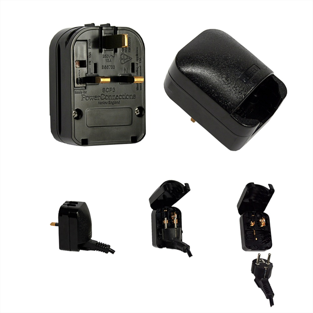 13A 2Pin Germany to 3Pin England Adapter 2pcs Free Shipping ST-6, AC Power Adapter,Travel Power Connector Plug