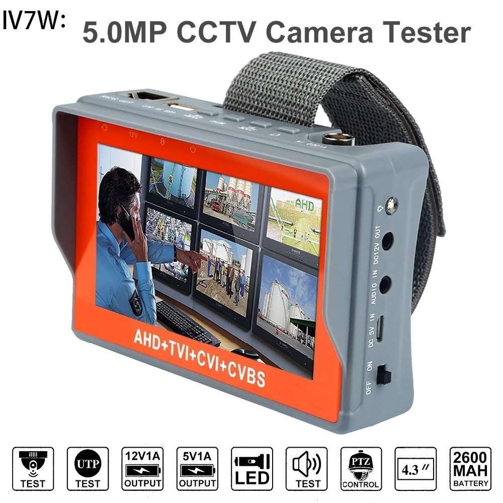 IV7W 4.3 Inch Four In One HD CCTV Tester Monitor AHD CVI TVI CVBS Analog Cameras Testing 5MP 3MP 1080P 960P 720P PTZ