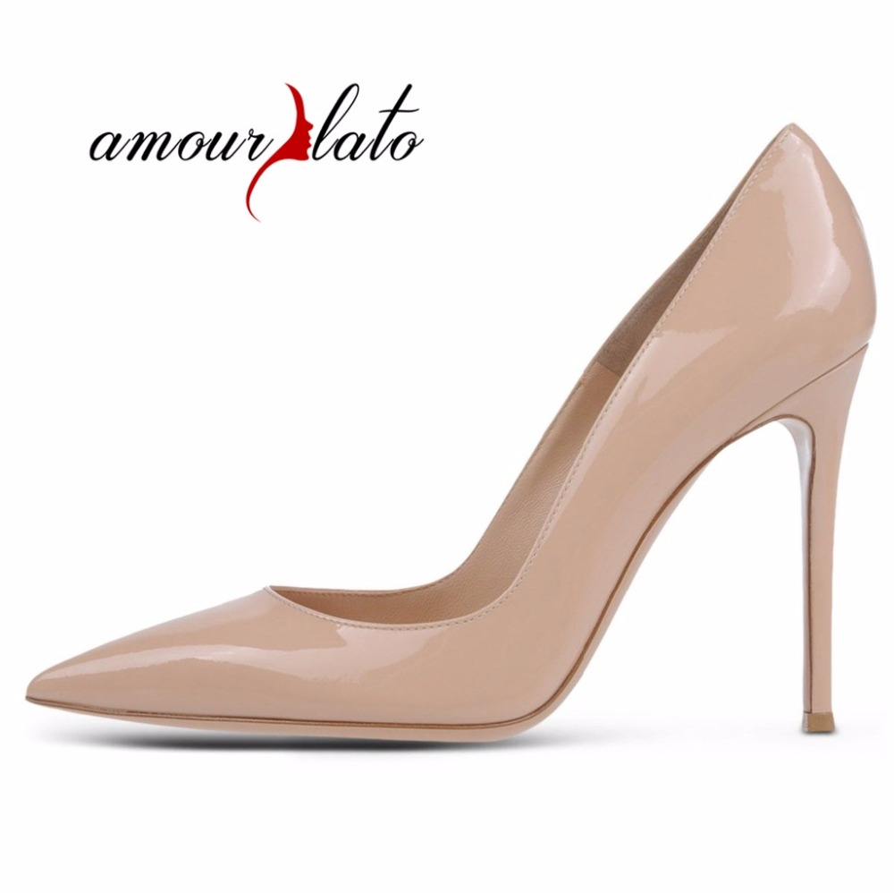97169d432669a Amourplato Womens Elegant 120mm Pointy Toe Pumps Basic Office Party Prom  Stiletto Pumps Slip-on