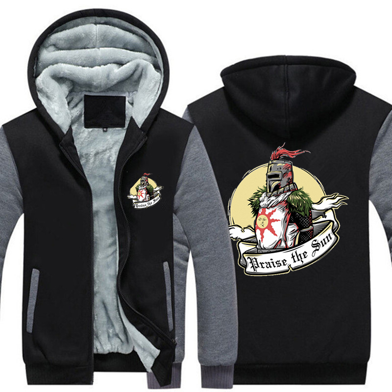 USA SIZE Game Praise the sun Men Thicken Hooded Fashion Winter Warm Dark Souls hoodies Warm Unisex Jacket Mens Coats 2018 New