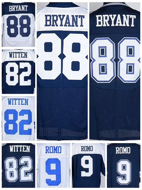 Discount 88 Dez Bryant Jersey Cheap 9 Tony Romo 82 Jason Witten Vintage Blue White Elite Game Stitched American Football Jerseys