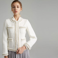 Handmade Luxury Blazer Suits for Women Fashion Bright Silk Tweed O Neck Hidden Breasted Pearl Short Blazers Coat White