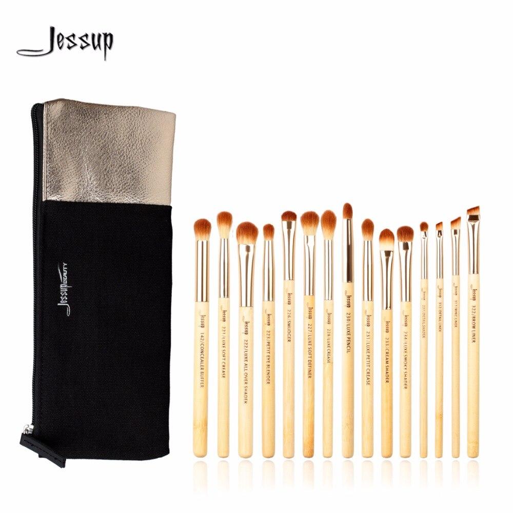 Jessup Cepillos 15 unids belleza profesional de bambú cosmética Cepillos  set t137 y cosméticos Bolsas mujer bolsa cb001 514b9b65dbbb