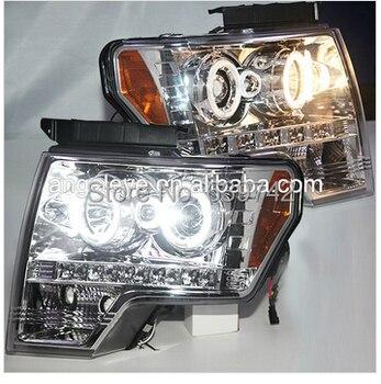 2008-2012 Year For  FORD F150 Raptor CCFL Angel Eyes Head Light Chrome Housing SN