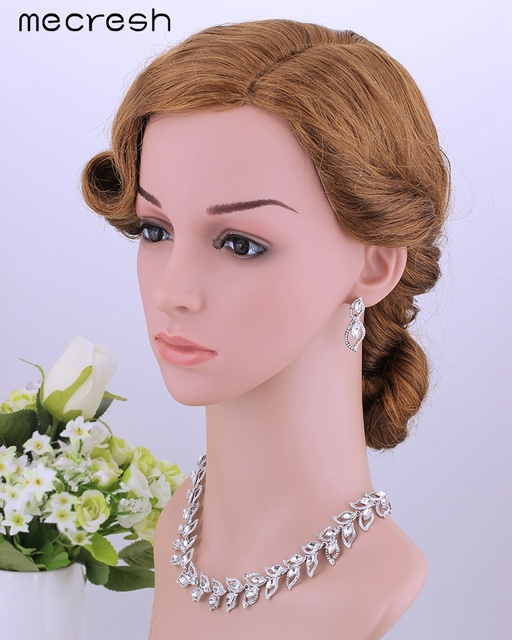 Elegant Clear Crystal Bridal Jewellery Set Necklace, Earrings & Bracelet
