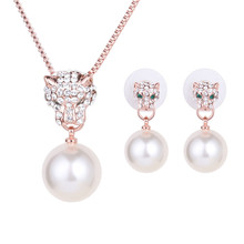 Romantic Pearl Earrings Necklace Micro-inlaid Zircon Leopard Head Shine Wedding Occasions Suitable Jewelry Set 2 Sets цена 2017