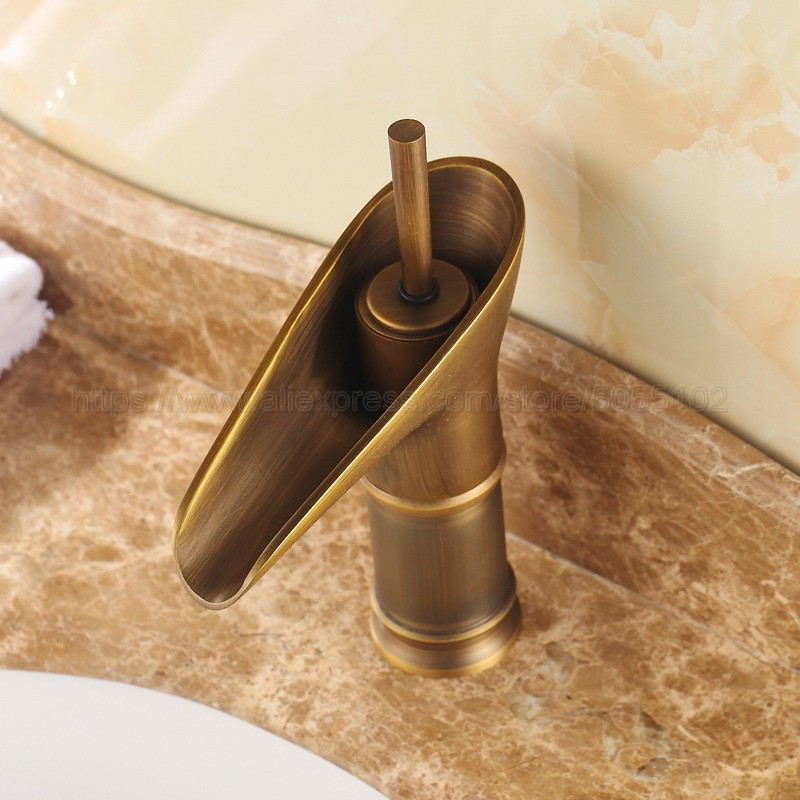 Bathroom Faucet Antique Brass Single Handles Bathroom Basin Faucets Deck Mount Bathbasin Vanity Mixer Taps znf090 in Basin Faucets from Home Improvement