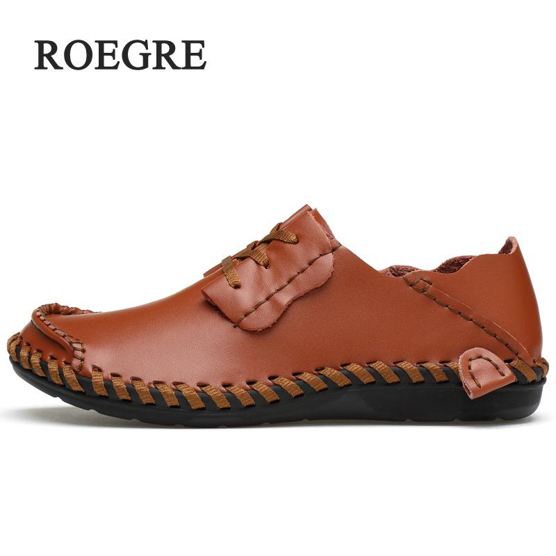 ROEGRE Mens Shoes Big Size 39-47 Manual Genuine Leather Men's Sewing Machine Loafers Moccasins Driving Slip on Casual Leather Me summer breathable men loafers handmade moccasins genuine leather casual shoes slip on flats mens driving shoes big size lb b0015