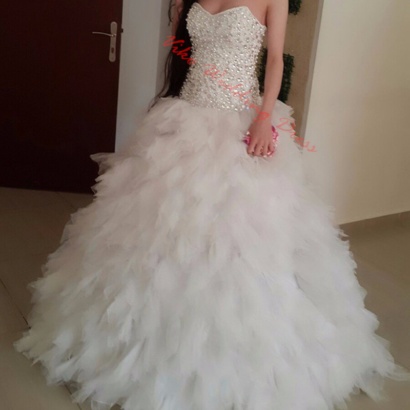 Ruffle Ball Gown Wedding Dress: 2017 Ball Gown Arab Wedding Gowns Strapless Tulle