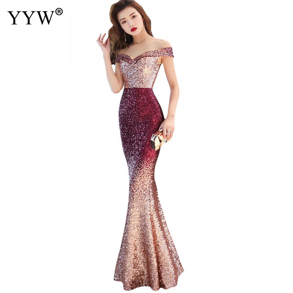 Rouge bleu dégradé Sequin sirène robe de soirée femmes Sexy col en V hors épaule à manches courtes femmes luxe Club Maxi robes