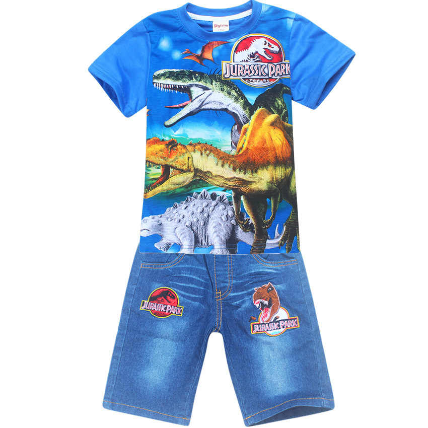 9717832a Children Clothing Character Jurassic World Sets dinosaur Pattern T-shirt +  jeans for boys Tops