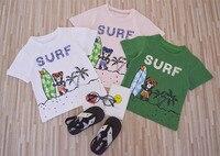 Newest 2017 Baby Boys Girls 100 Cotton Short Sleeve T Shirts Surf Bear Design Kids Fashion