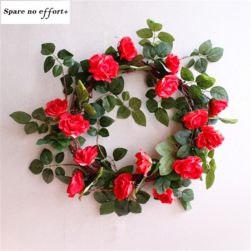 45cm Rose Wreaths Door Hanging Decoration Christmas Wreaths Simulation Floral Garland for Wedding Decoration Home Office Party