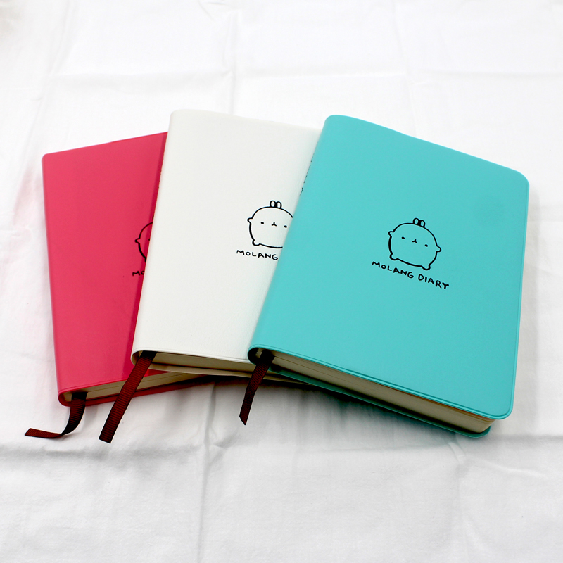 Cute Molang notebook diary book with 2018-2019 calendar weekly planner agenda Cartoon student school supplies stationery store 1pc office stationery planner agenda scheduler memo notebook cute molang rabbit calendar notepad for child gift