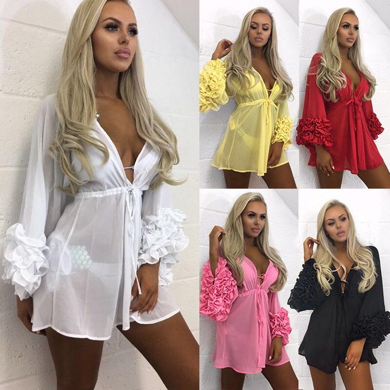 New Fashion Women Floral Fringed Ball Swimwear Beach Bikini Solid Deep V Neck Dress Kaftan Kimono Dresses