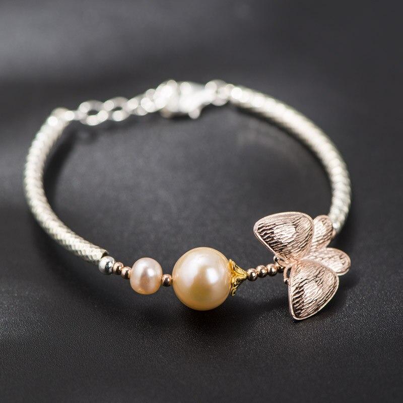 Bracelet papillon en argent Sterling coréen naturel perle d'eau douce Bracelet en argent Design de mode femme main chaîne
