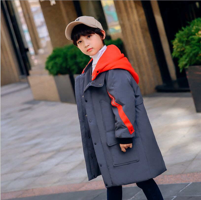 New Children's Down Jacket Long Thick Fashion Patchwork Hooded Children's clothing Down & Parkas Winter Jacket For Boys 2017 winter women jacket down new fashion long sleeve hooded thick warm short coat slim big yards female autumn parkas ladies242
