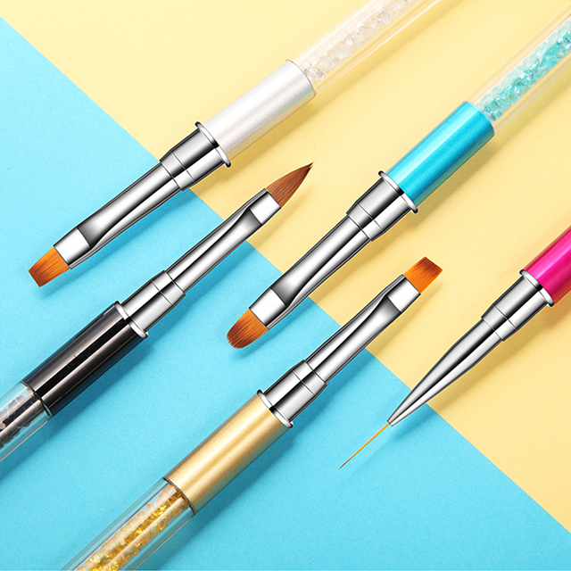 ROHWXY Nail Art Brush Rhinestone Acrylic Pen Carving Nails Tips Painting Poly Gel Tool Liner French Manicure Accessories Design 2
