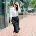 New Style Autumn  Winter Fashion Trumpet Bust Skirt Women's Elastic Waist Knitting Mermaid Skirts Ladies